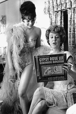 """GYPSY (1962) - Natalie Wood & Gypsy Rose Lee examine the liner notes on """"Gypsy Rose Lee Remembers Burlesque"""""""