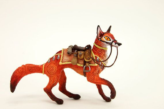 Saddled Fox Fantasy Figurine Sculpture, Animal magic spirit amulet