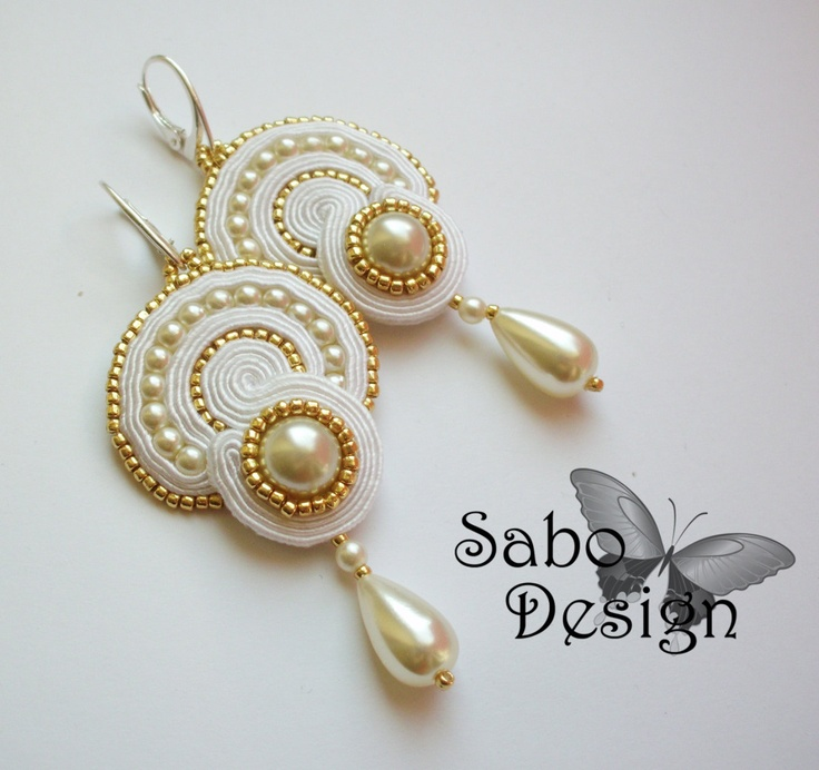 Soutache earrings handmade embroidered in white gold by SaboDesign, $79.00