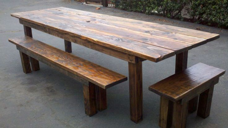 reclaimed wood table and bench 1
