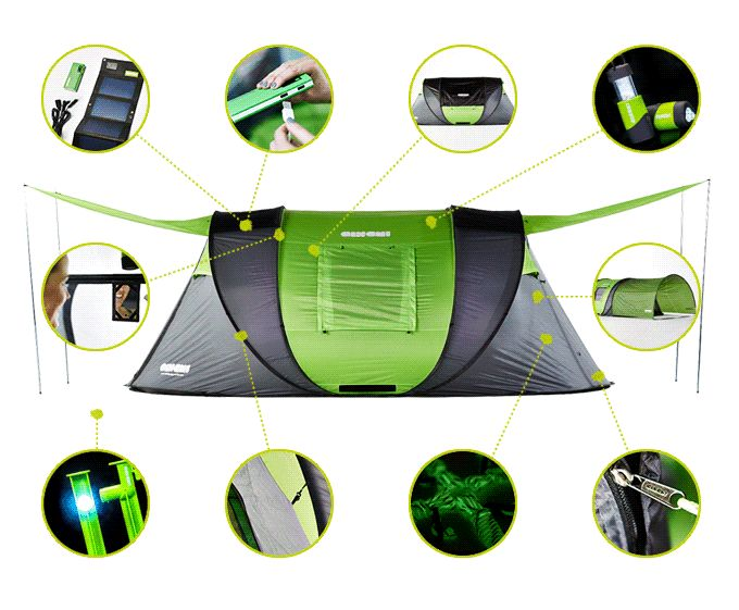 The world's most advanced pop-up tent – solar power, heat regulation, LED lighting, extendable canopies, massive and easy to carry.