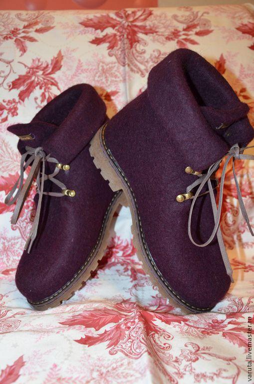 Ботинки женские валяные Баклажан - тёмно-фиолетовый, баклажан, обувь ручной работы