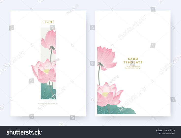 Minimalist floral invitation card template design, pink lotus flowers and leaves…  – Announcement Cards