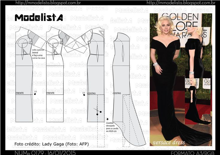 Sewing Pattern / Lady Gaga golden globes dress