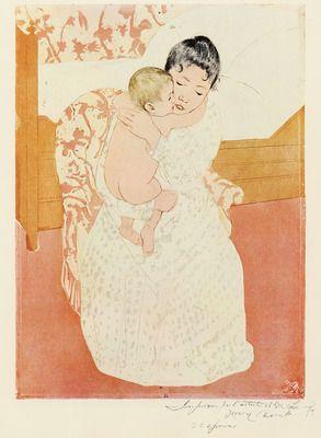 Motherly tenderness by Cassatt. Order from DEKORAMI as a poster, canvas print, mural. Zamów jako obraz na płótnie, plakat lub fototapetę na DEKORAMI.pl