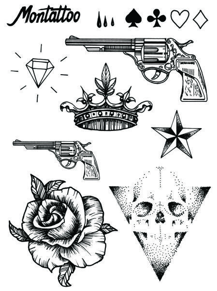 This tattoo set includes playing card symbols, tears, a big and a small gun, a…
