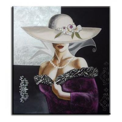 Cuadro dama con sombrero pintado a mano dormitorios for Pintura para recamaras