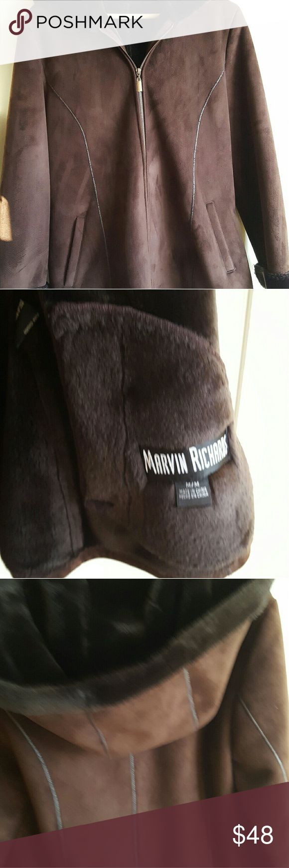 Marvin Richards Ladies Hooded Suede Coat Jacket Brown color suede material zipper in the front ,hooded, tow front pocket , size medium  measurement: coat length 28 inch Armpit to Armpit  21 inch   Sleeve length 25 inch.  no stain or smell in excellent condition very soft and comfy jacket Marvin Richards Jackets & Coats