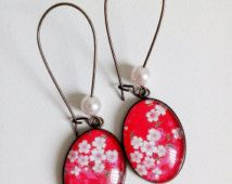 Oorbellen * Japans papier * washi bloemen kersen rood roze Japan, cabochon glas