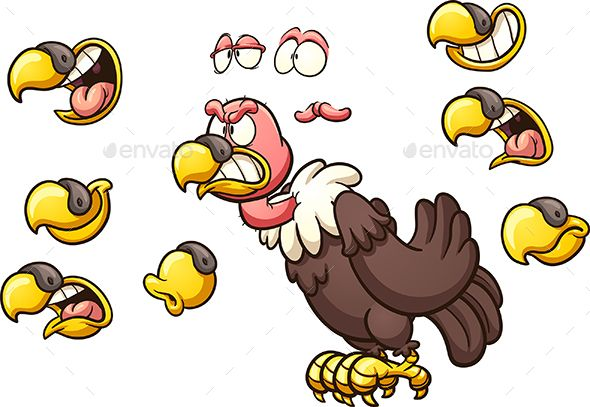 Cartoon vulture with different beaks. Vector clip art illustration with simple gradients. Some elements on separate layers. EPS10