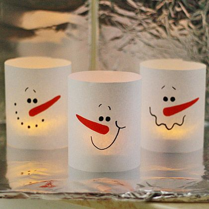 3 Minute Paper Snowman Luminaries by @amandaformaro for Spoonful