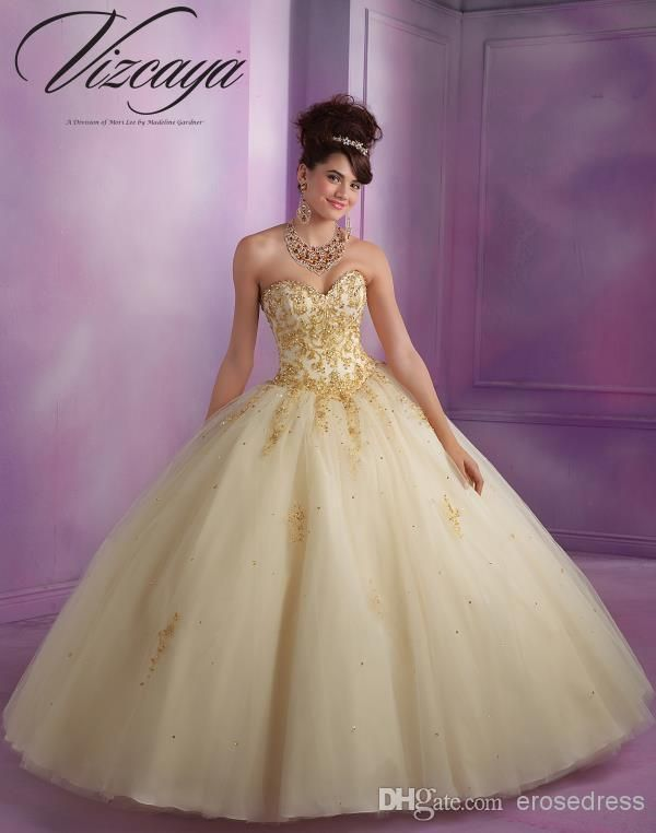 Ball Gown Strapless Golden Lace Appliques Yellow Tulle Quinceanera Dresses, $147.65 | DHgate.com champagne, gold and burgundy