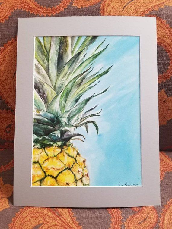 Matted Pineapple Original Watercolor Painting Handmade Art Wall