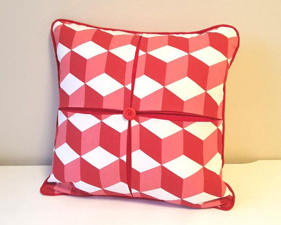 """Christmas Red Pillow Case, Box Pleated Cushion Cover, 18x18"""" Throw Pillow, Printed Cotton Pillow, Square Cushion Cover, Decorative Pillow"""