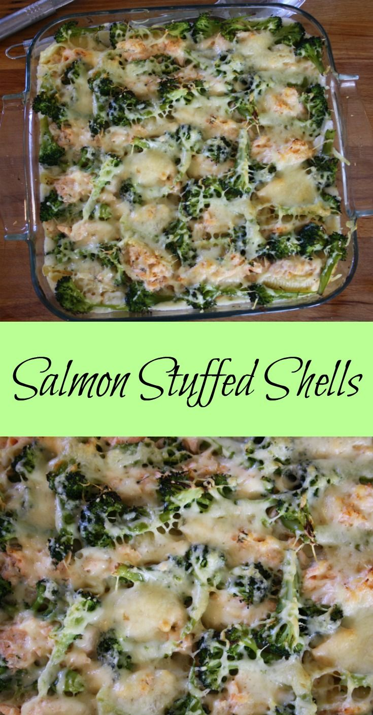 Salmon Stuffed Shells.  Giant pasta shells filled with poached salmon and creme fraiche on a bed of cheese sauce then baked with broccoli and cheese.