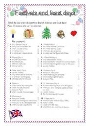 English Worksheets: festivals and feast days in Great Britain
