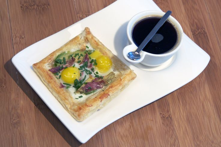 ... pastry with eggs, capocolla, avocado, chives, and creme fraiche
