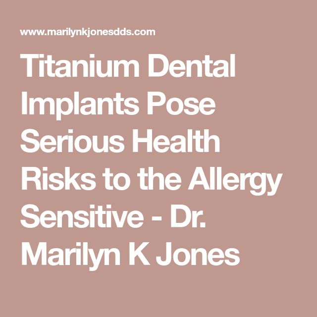 Titanium Dental Implants Pose Serious Health Risks to the Allergy Sensitive - Dr. Marilyn K Jones reactivity is very low to Titanium and very high to Zirconium. So, sorry to say this, but using the ceramic materials for an implant for him would not be good. The test costs $250 – 300 and is done by this lab: Scientific Health Solutions, Inc., 1621 North Circle Drive, Colorado Springs, CO 80909 (719) 548-1600.