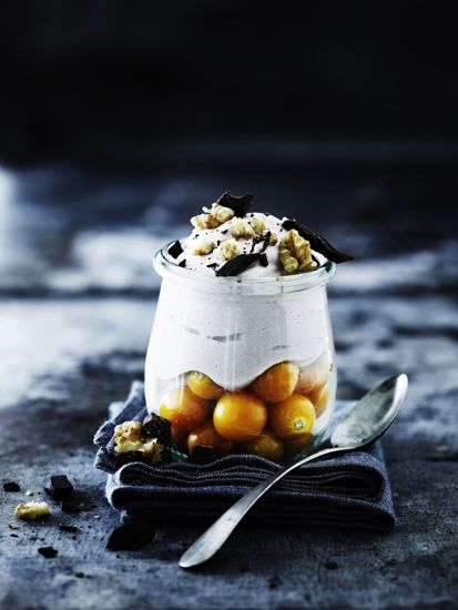 Mixed berries with coconut cream idea