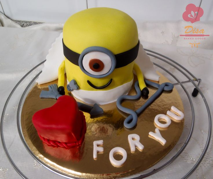 Minion cake, cupid, love, heart , for you, banana , yellow