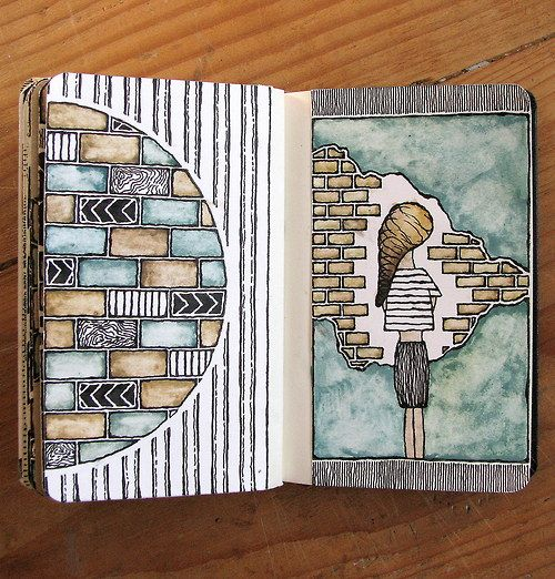Moleskine 02, #064 Rebecca Blair art #sketching #patterns