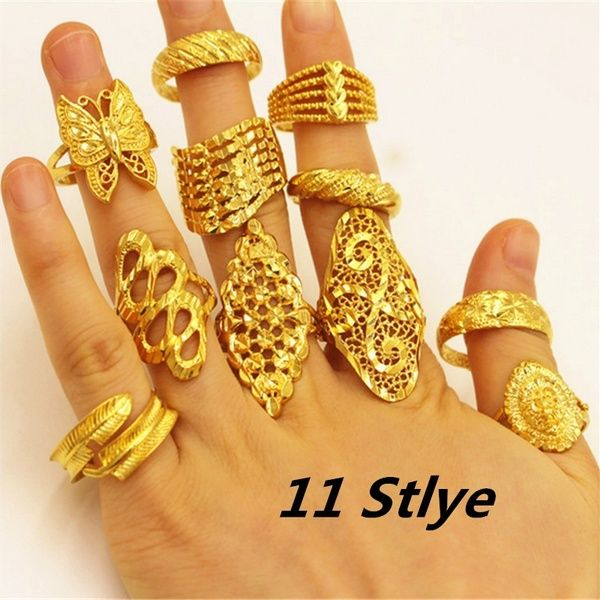 11 Stlye Fashion Vietnam K Gold Jewelry Stars Flower Butterfly Adjustable Wedding Ring Jewelry Gift Wish 24k Gold Jewelry Gold Ring Designs Gold Jewelry
