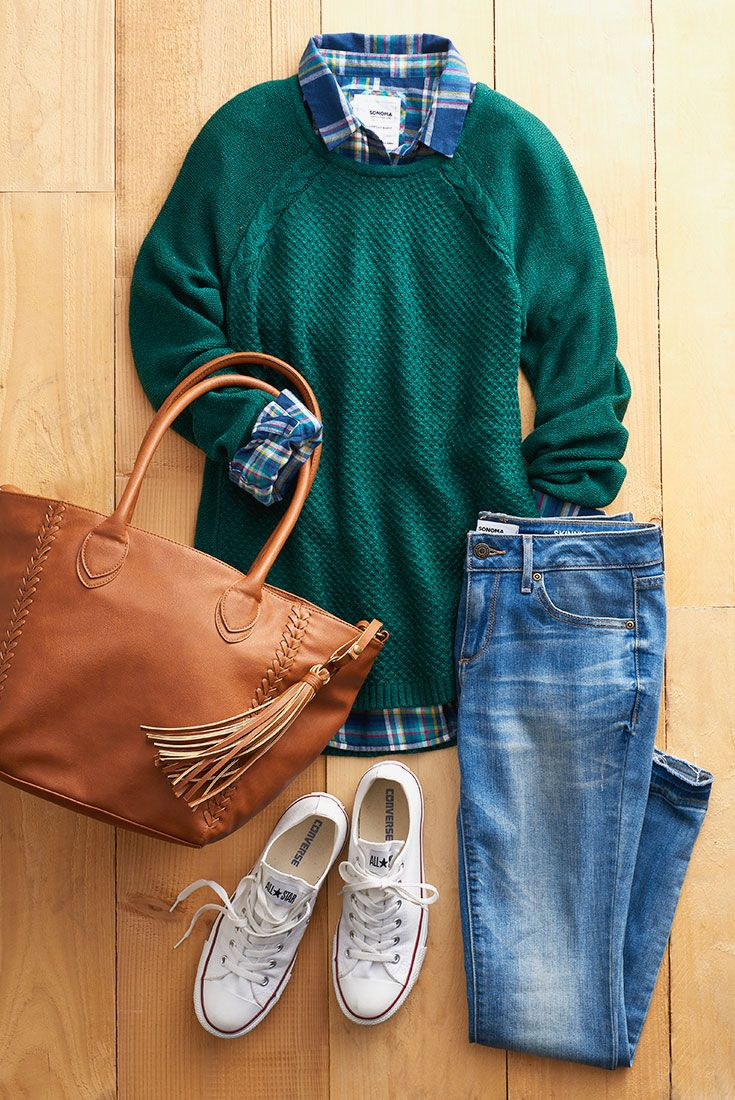 Relaxed and easy from head to toe, this OOTD is perfect for all your fall activities, from raking leaves to football games. Featured product includes: SONOMA Goods for Life plaid shirt, sweater and release hem skinny jeans and Converse Chuck Taylor sneakers. Find your new fall faves at Kohl's.