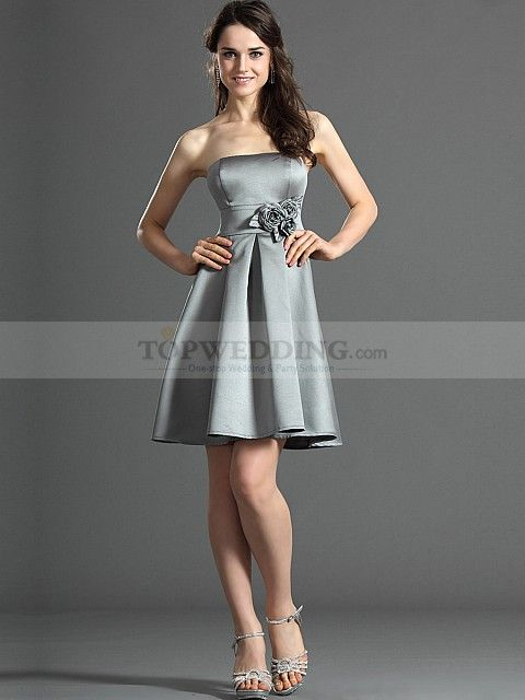 A Line Strapless Mini Satin Bridesmaid Dress with Flower Detailed Waist