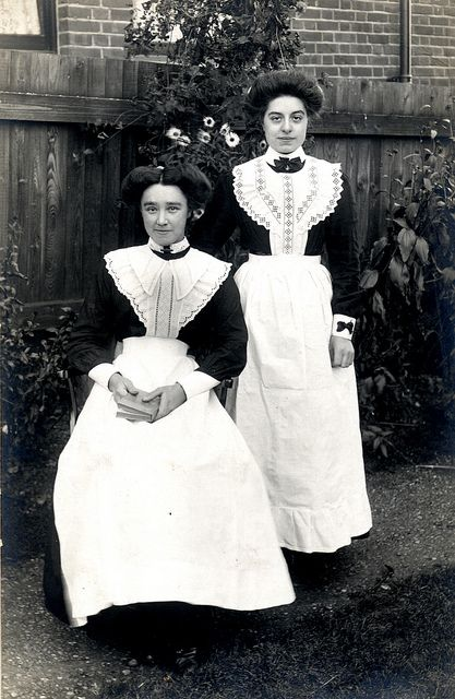 Maids in a garden - large numbers of Devon women went to London to work as domestic servants.