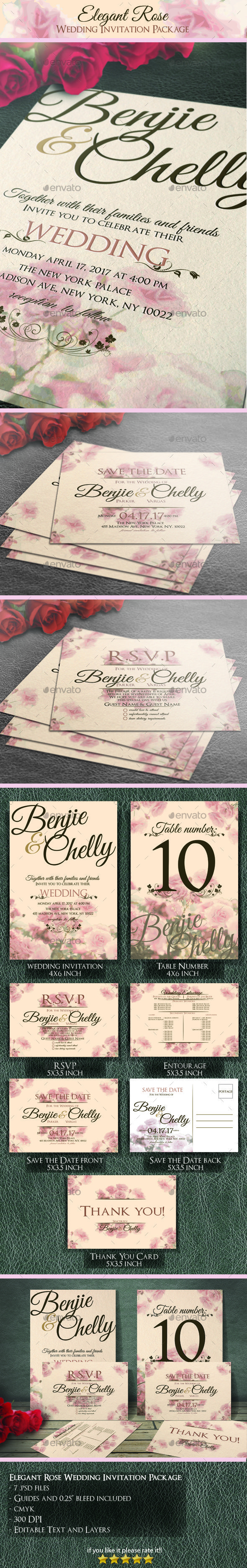 Elegant Rose Wedding Invitation Package - #Weddings #Cards & #Invites Download here: https://graphicriver.net/item/elegant-rose-wedding-invitation-package/19435872?ref=alena994