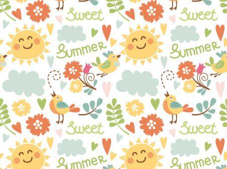 Cartoon summer elements seamless background vector