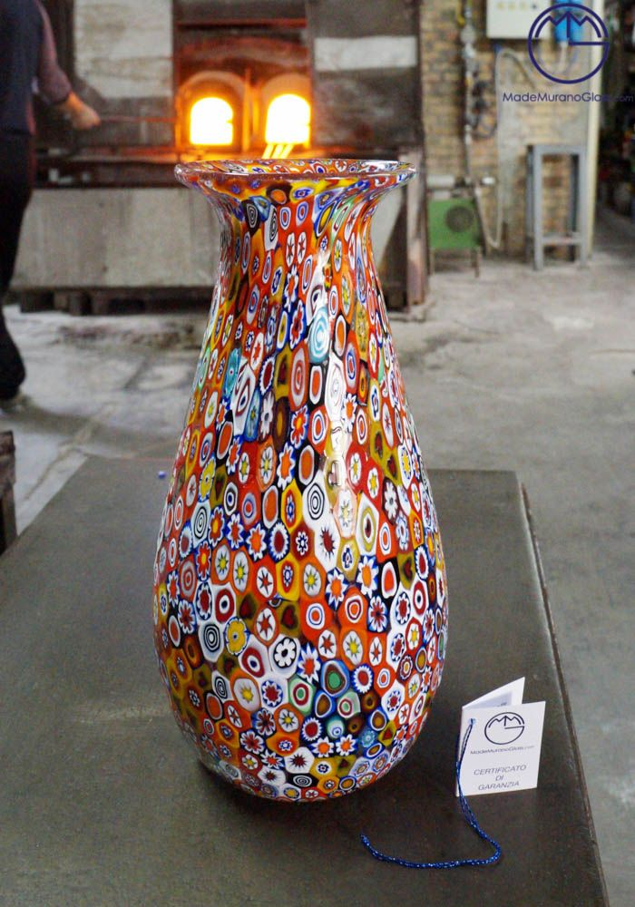 These #magnificent #Murano #glass #vase with #Murrine #Millefiori are #blown with great skill by #famous #Murano #artisans. This work is #unique in the world for its combination of colours, #elegance and #sophistication.--- #Vaso in #vetro di #Murano modello #Tulipano.