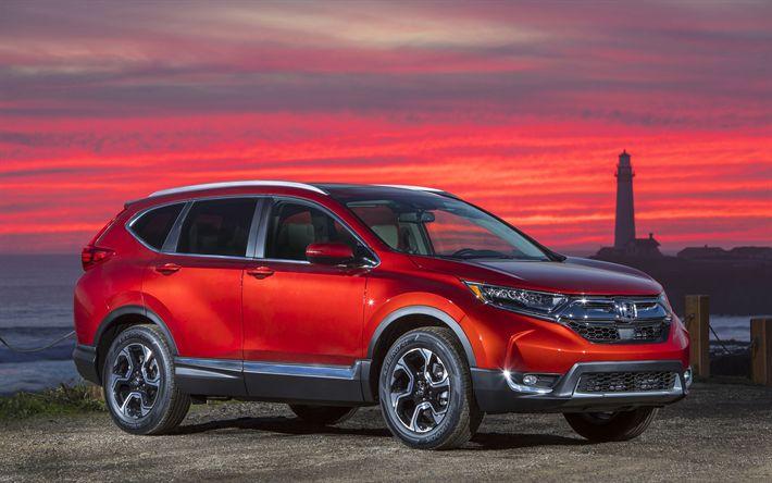 Télécharger fonds d'écran Honda CR-V, coucher de soleil, 2018 voitures, Vus, le nouveau CR-V, les voitures japonaises, Honda
