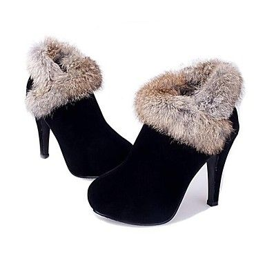 Women's Shoes Round Toe Stiletto Heel Ankle Boots with Rabbit Fur Shoes More Colors available – USD $ 29.99