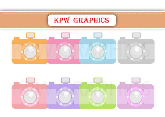 Pastel Cameras Blue Green Pink Red Clipart PNG by KPWgraphics
