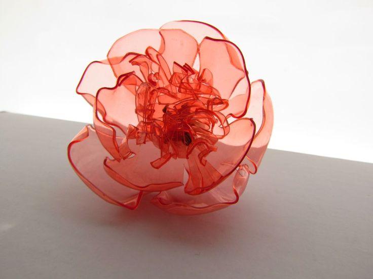 Red oversized ring Recycled plastic jewlery Upcycled PET bottles Eco friendly Large round flower Statement Transparent Transluscent by ekoista on Etsy