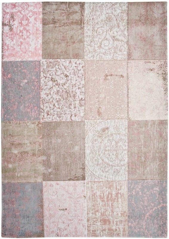 Patchwork vloerkleed | wollen vloerkleed in beige en roze