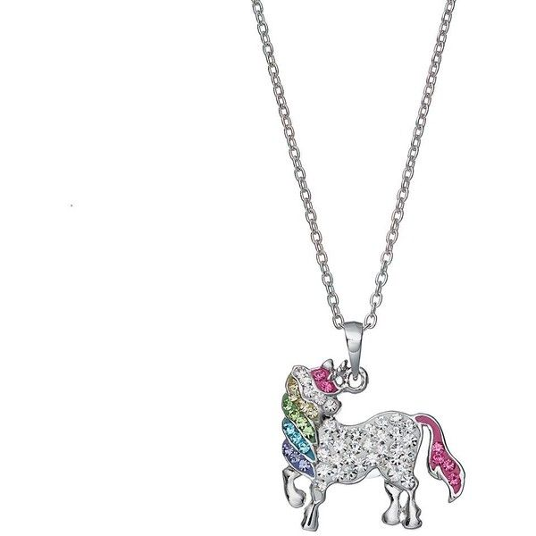 Silver Tone Crystal Unicorn Pendant Necklace (272.265 IDR) ❤ liked on Polyvore featuring jewelry, necklaces, crystal chain necklace, tri color necklace, colorful necklace, crystal pendant and unicorn pendant necklace