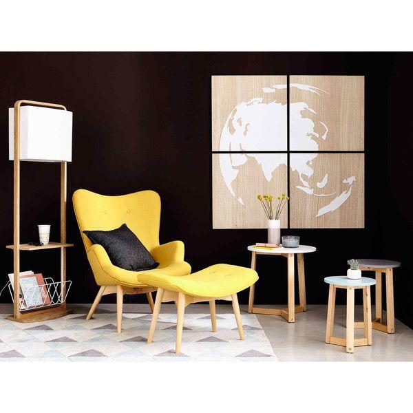 Scandinavian Yellow Fabric Pouffe Footrest
