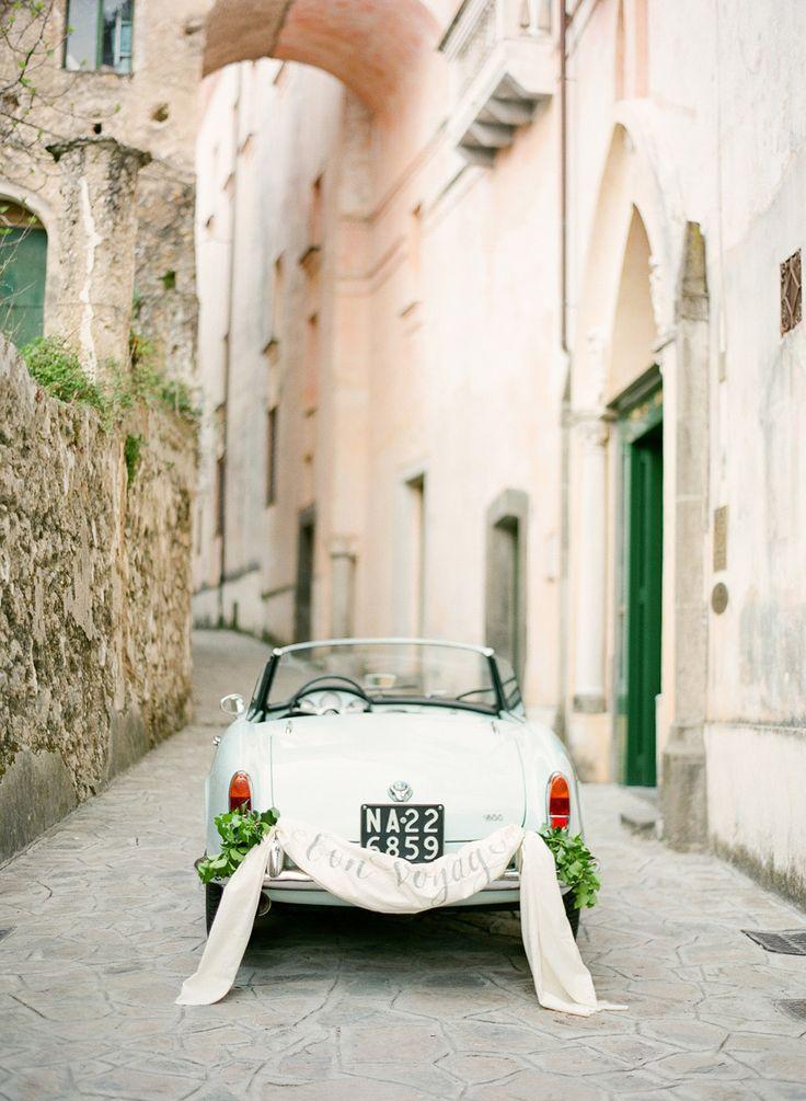 """Bon Voyage"" car signage Photography: KT Merry - ktmerry.com  Read More: http://www.stylemepretty.com/2014/06/05/dreamy-european-honeymoon-inspiration/"