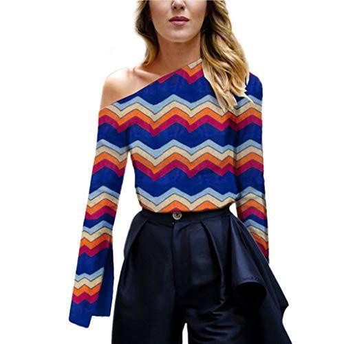 fa2315a230843d Kiminana ❤ Women's Ladies Print Skew Collar Long Sleeve Blouses Shirt  Pullover Tops