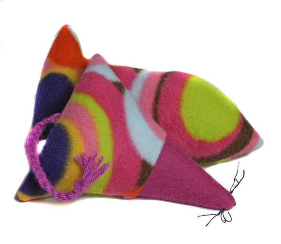 Fleece Catnip Mouse and fish set   cat toys  uk by Clasicats