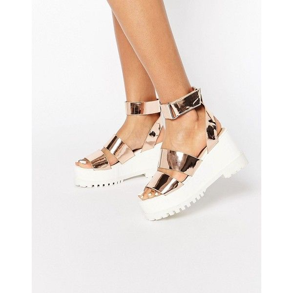 ASOS TEASE ME Chunky Sandals (€41) ❤ liked on Polyvore featuring shoes, sandals, white, ankle wrap sandals, platform shoes, ankle tie sandals, asos shoes and white platform shoes