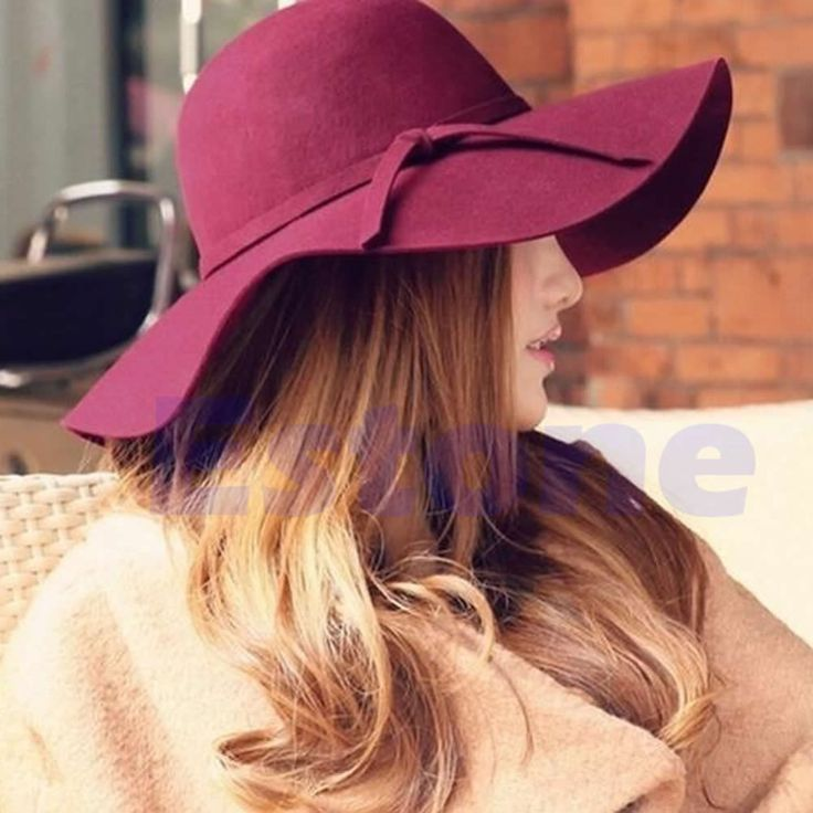 Pastillero Sombrero de Ala Ancha de Las Mujeres Bowknot Cloche Fieltro Bowler Hat Fedora Floppy Sun Cap