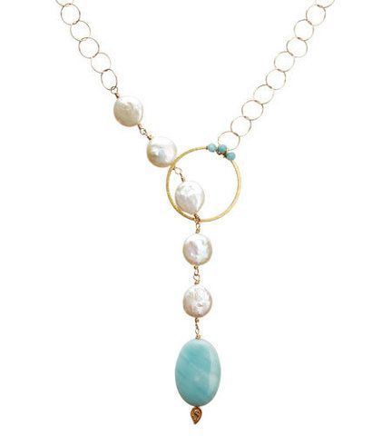 Amazonite and pearl lariat necklace - Nikki Baker