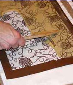 Katazome a Japanese method of dyeing fabrics using a resist paste applied through a stencil. katagami (stencils) are hand cut from kozo hand...