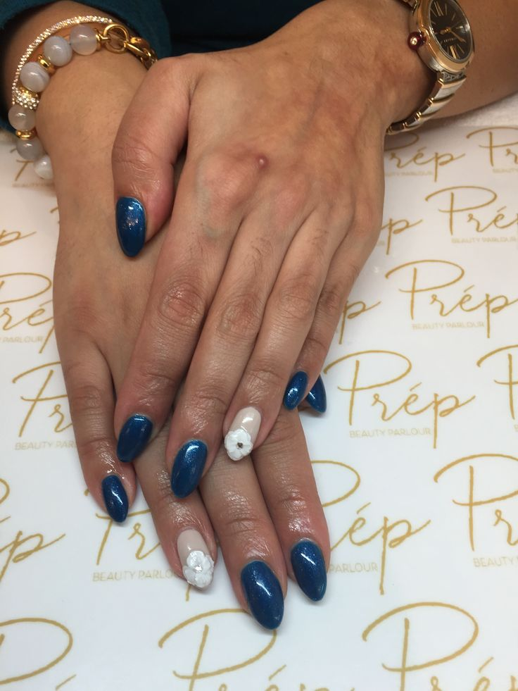 20 best nail art images on pinterest nailart nail art and eyes royal blue gel nails with 3d floral nail art by yana nailart vancity prinsesfo Image collections