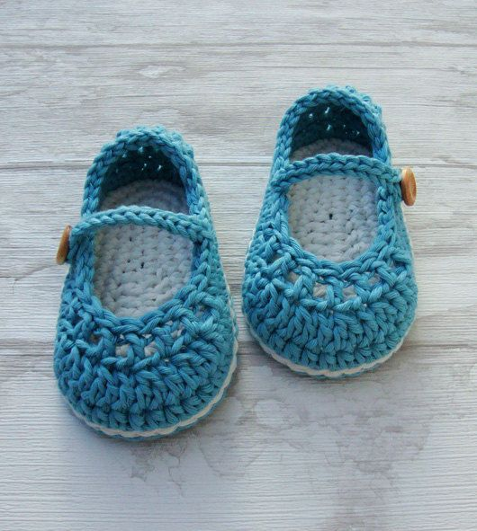 Baby booties mary jane crochet shoes aqua and ♡ by Ohprettypretty