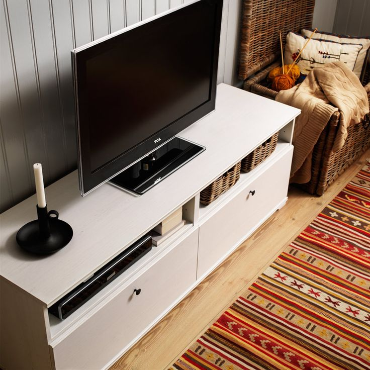 BORGSJÖ white TV bench with drawers and built-in cable management SALE 75.00 REG 89.00