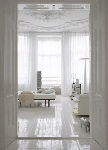 White on white and high gloss floor